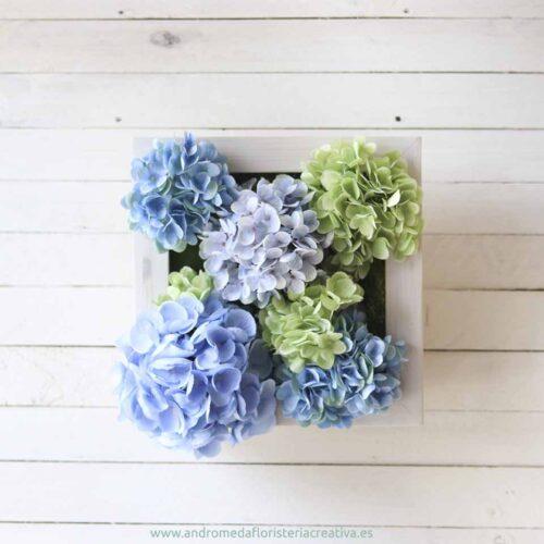 cuadro jardin vertical hortensias